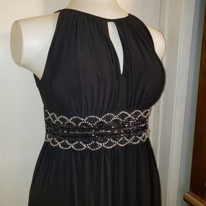 R&M Richards black beaded sequined gown 14